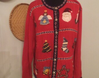 Vintage Ugly Christmas Party Sweater ~ Red Embroidered Santa Angel Tree Candy Cane Stocking Size L Large