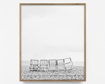 bw retro beach chair print, black and white beach photography, bw vintage beach art, retro beach decor, vintage beach art, beach house decor