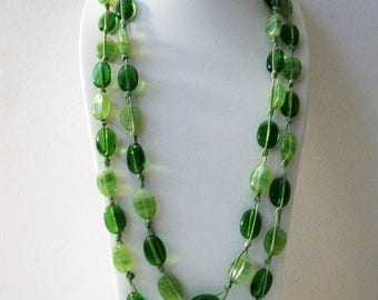 ON SALE Retro Heavier Green Glass Beads Hand Knotted 60 Inches Long NO Clasp Necklace 83017