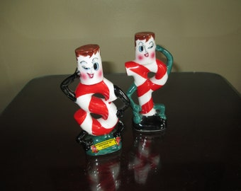 Rare Vintage Art Deco Winking Candy Cane Salt and Pepper Shakers ~ Very Nice!