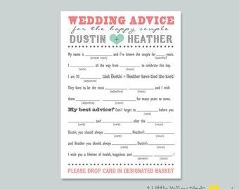 Wedding Advice Card - MAD LIBS (Heart)