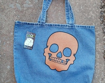 Denim Tote Bag with Copper Metallic Skull by Crazed Lemming