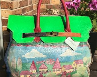 Leather boho handbag, hand painted.
