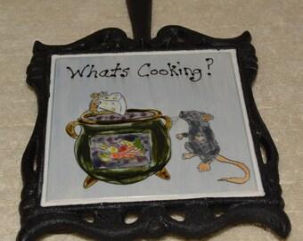 Trivet, Cast Iron, Handle, Ceramic Tile, Mice, Cauldron,  Blue, Black, Kitchen, Home Decor, Veggies, Cheese, Wall Decor,