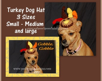 Instant Download Crochet Patterns - Turkey  Hats for dogs - 3 sizes S, M L