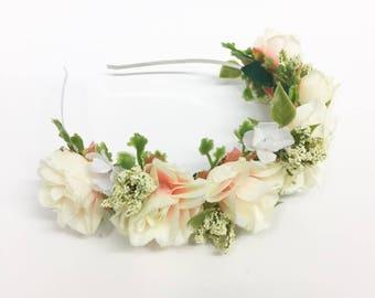 Delicate Rose Flower Crown Headband
