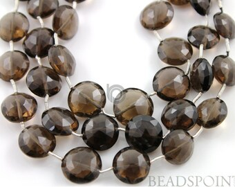 Natural ''NO TREATMENT'' Brazilian Smokey Topaz  Faceted Flat Coins 10-11mm, AAA Quality Gemstones   , 1 Strand (STZ10-11Coin)