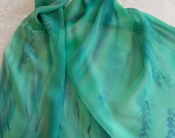 Hand painted silk scarf - Green-Blue silk scarf - Japanese chiffon silk - ready-to-ship - unique gift- birthday gift.