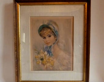 Vintage Framed Print with Fabric Mat/Victorian woman with Blue Bonnet/signed Strevens 1962 Fleck Bros/Shabby Chic frame hanging finale