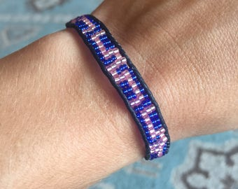 Beaded Leather Bohemian Wrap bracelet with blue and pink tone beads