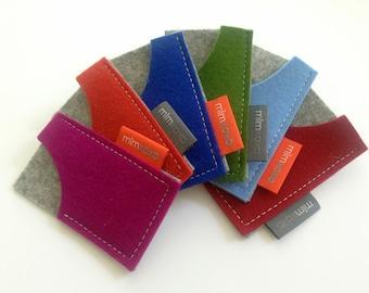 Mini Moo card case by mlmxoxo.  pure wool felt. business card holder. felt business card case. eco-friendly.  handmade case.  Free Shipping.