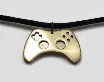 Game Controller Pendant - Video Game Jewelry in Brass & Stainless Steel - A deliciously nerdy necklace for geeky gamers