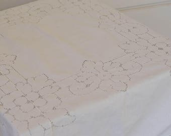 "White Tablecloth or Table Topper, 48"" by 48"", Vintage Table Linens"
