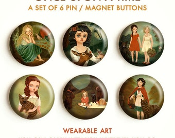 Once Upon A Time - Fairy Tale, Fairtytales, Pinback Button Set, Magnets, Pinbacks, Pins, Set of 6, Cute, Fridge Magnet, Button Pack, Badge