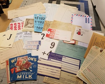 Vintage Junk Journal Ephemera Kits (45+ pieces)