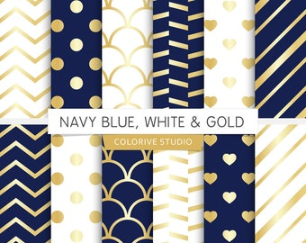 Navy Blue, White & Gold digital paper, navy, dark blue and gold, white and gold, gold wedding, scrapbook papers (Instant Download)