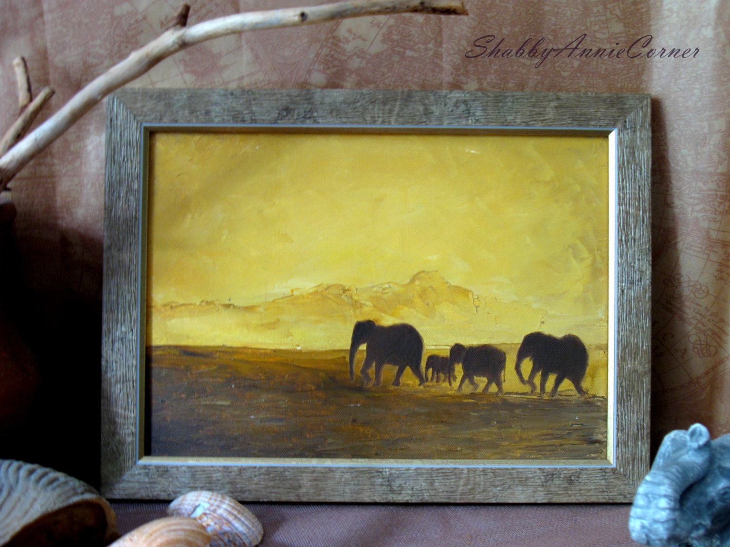 Elephant painting Yellow Ochre wall art African sunset wall