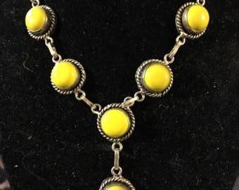"""Vintage Yellow """"Y"""" Necklace"""