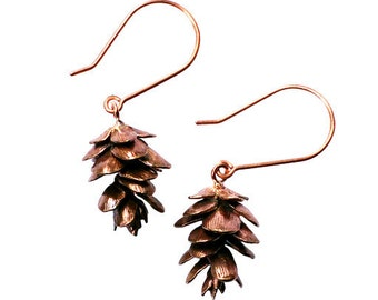 Pinecone Earrings Bronze Cast Nature