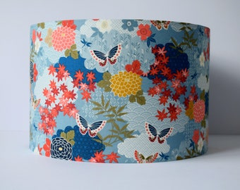 Oriental Lampshade Ceiling, Japanese Home Decor, Floral Lamp Shades, Butterfly and Flower Light Pendant, Blue Lamp Shade Floor Lamp