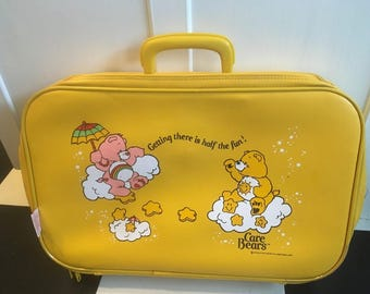 Adorable Vintage Care Bear Yellow Suitcase, Care Bears Vinyl Yellow Child's Bag
