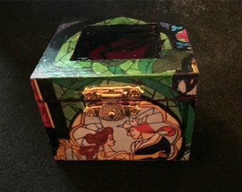 Beauty and the Beast Rose Stained Glass Inspired Proposal Engagement Ring Box Bearer Pillow Box Customizable