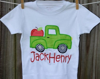 Personalized Truck with Apple Applique Shirt or Bodysuit Girl