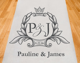Royal Crown Personalized Aisle Runner - Wedding Ceremony Aisle Runner - Plain White Aisle Runner (ppd9)