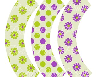 Purple Daisies Cupcake Wrappers Birthday Party Printable Digital Instant Download