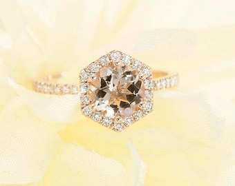 Rose Gold Engagement Ring.Morganite Engagement Ring.Hexagon Morganite Ring 0.28Ct.F-G/VS High Quality Diamonds,AAA Quality Natural Morganite