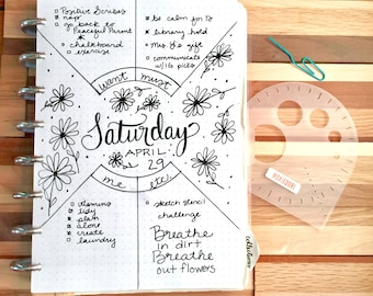 Compass Protractor™ by MoxieDori Bullet Journal Stencil for Travelers Notebook Leuchtturm Moleskine Field Notes A5 Planner