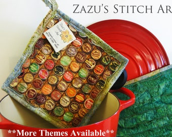 2 Bottle Cap Hot Pads Pair Quilted Pot Holders Handmade Insulated Pot Holders Theme Pot Holders Fabric Hotpads Housewarming Christmas Gifts