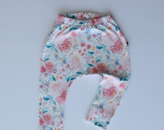 Organic Baby Pants / Leggings in Harem Style - Floral Dreams - READY TO SHIP by Little Dreamer