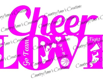 """SVG PNG DXF Eps Ai Wpc Cut file for Silhouette, Cricut, Pazzles, ScanNCut  -""""Cheer Love""""  svg"""
