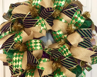 Simple Mardi Gras Wreath, Mardi Gras Deco Mesh Wreath, Simple Carnival Wreath