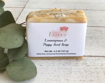 Lemongrass Soap Bar, Exfoliating Soap,  Poppy Seep Soap, Handmade Natural Soap, Spring Soap,