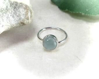 Piercing Earring Silver Aquamarine Gemstone SINGLE - Aquamarine Hoop, Gemstone Hoop, Minimalist Hoop, Delicate Hoop, Dainty Hoops, Cartilage