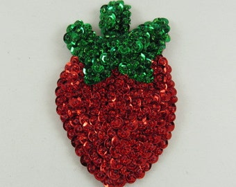 Glass Beaded Kitchen Magnet, Small Strawberry Magnet, Refrigerator Magnets