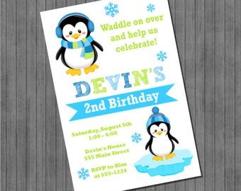 Penguin Invitation - Blue