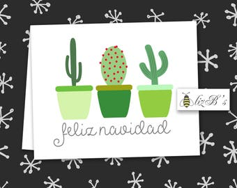 Feliz Navidad Cacti Folded Note Cards DIGITAL VERSION