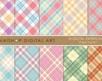 Digital Paper 'Plaid Shirts' Yellow, Purple, Red, Blue, Gray, Beige, Pink, Orange... Tartan Pattern Digital Sheets for Scrapbook, Crafts..
