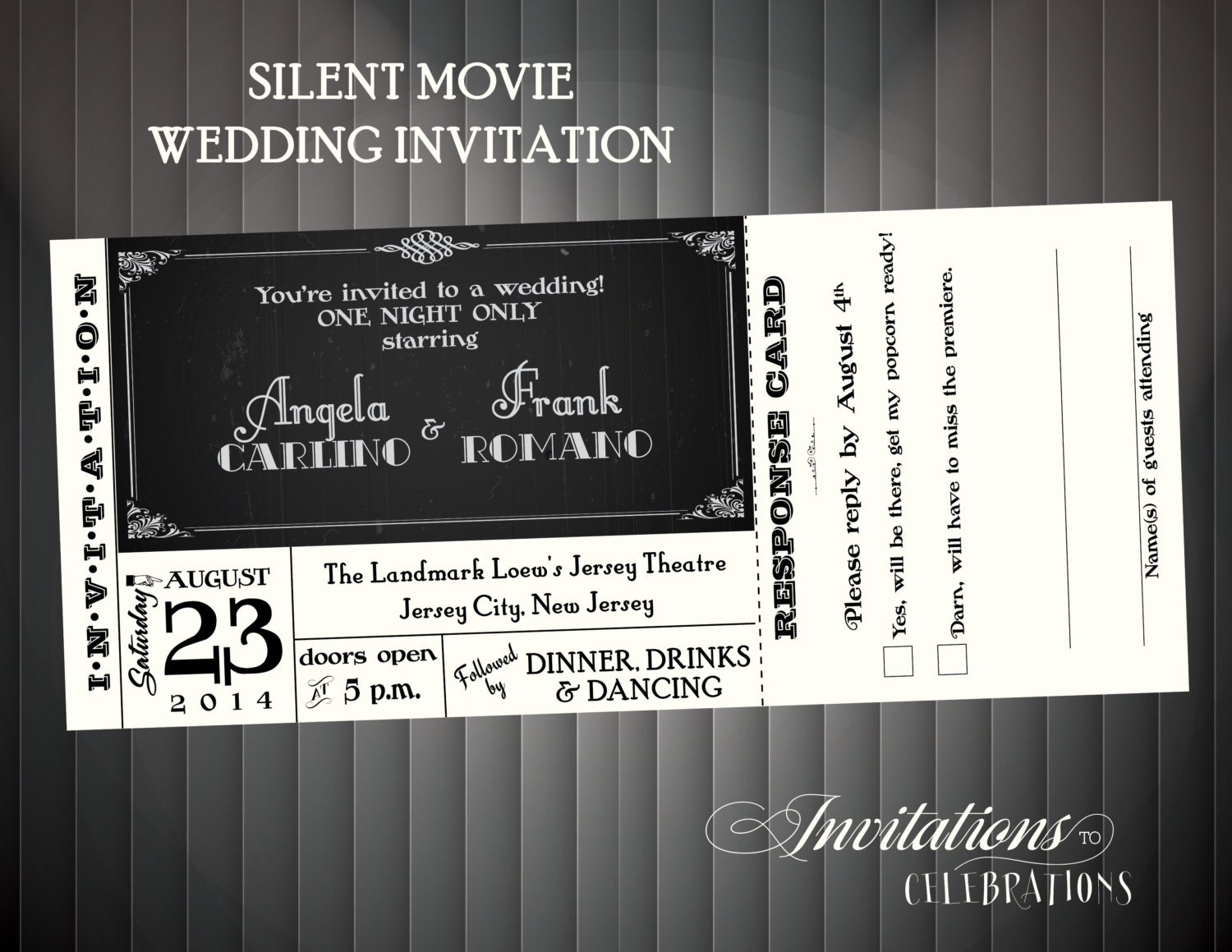 Silent movie Wedding invitation DIY printable or Printed for