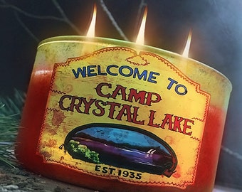 Camp Crystal Lake Triple Wick Candle - Choose Your Sick Scent- Horror Decor