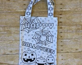Color Me In Trick or Treat Bag - Halloween Bag - Kids Halloween Tote - Candy Bag - Kids Tote - Candy Tote - Trick or Treat Bucket -Halloween