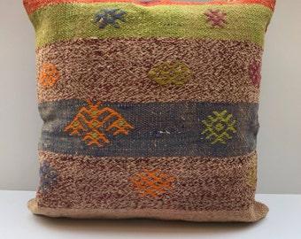 Vintage Kilim Pillow Cover 16x16 , Pastel Kilim Pillows , Couch Pillows , Turkish Pillow , Vintage Pillows , Decorative Pillows