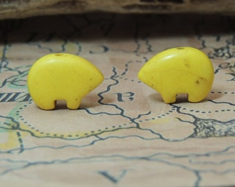 Yellow Zuni Earring Bear beads dyed magnesite  by the Pair  make your own Dreamcatchers earrings Teen Size 12 x 18 mm