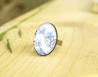 Floral watercolor oval ring, vintage glass tile ring, bronze colored metal jewelry