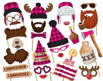 Lumberjack Lumberjill photo booth props. Birthday baby shower props. Pink Lumberjack party printables, Printable PDF, Party supplies - 0212