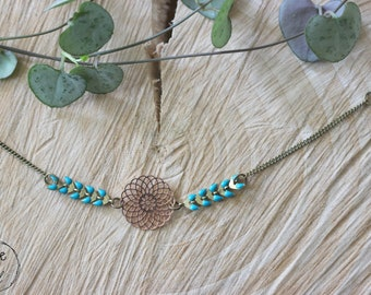 ALAROUET ••• Bracelet engraving filigree chain Spike, turquoise and Bronze, gift idea, personalized gift.