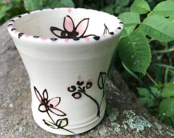 Pink Wildflower Watercolor Cup from SweetpeaCottagePottery.com